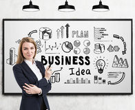 Woman with crossed arms and business idea. Portrait of a blond businesswoman standing with crossed arms near a whiteboard with a business idea drawing stock images