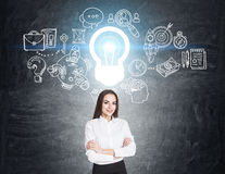 Woman with crossed arms and business idea Stock Images