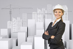 Woman with crossed arms. Cubes and wire-frame Royalty Free Stock Image