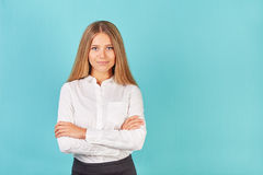 Woman with crossed arms Stock Images