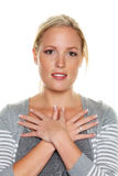 Woman with crossed hands woman with crossed hands Stock Images