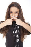 Woman Crossing Fingers Over The Mouth Royalty Free Stock Images