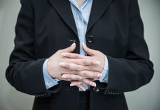Woman crossing her fingers and waiting Stock Photos