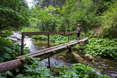 Woman crossing the river on a wooden bridge Royalty Free Stock Images