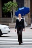 Woman Crossing Road Stock Photos