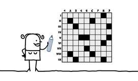 Woman & crosswords Stock Photos