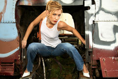 Woman crouching inside truck royalty free stock photos