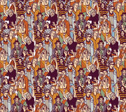 Woman crowd big group color seamless pattern. Royalty Free Stock Images