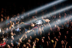 A woman from the crowd doing crowdsurfing at Primavera Sound 2015. BARCELONA - JUN 1: A woman from the crowd doing crowdsurfing at Primavera Sound 2015 Festival Stock Image