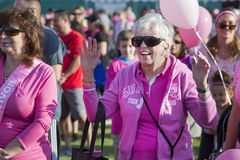 Woman in Crowd Prior to Breast Cancer Walk Royalty Free Stock Photos