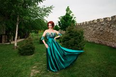 Woman with crown on head in green long dress posing looking to side royalty free stock photography