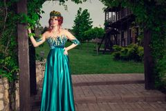 Woman with crown on head in green long dress posing looking at you camera royalty free stock images
