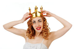 Woman in crown Stock Images