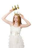 The woman with crown isolated on white Royalty Free Stock Photos