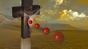 Woman  crucified end red balls Royalty Free Stock Images