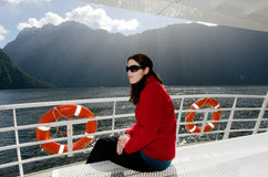 Woman on a cruise boat Royalty Free Stock Photo