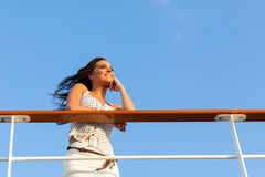 Woman cruise daydreaming Royalty Free Stock Images