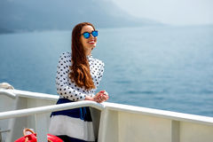 Woman on cruise liner or ferry Royalty Free Stock Image