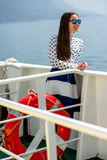 Woman on cruise liner or ferry Stock Image