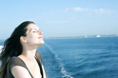 Woman on cruise ship 3 stock image