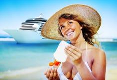 Woman Cruise Ship Beach Summer Sea Concept Royalty Free Stock Photo