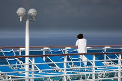 Woman on a cruise ship deck Royalty Free Stock Images