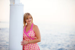 Woman on cruise ship Stock Photography