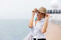 Woman cruise ship. Happy woman on a cruise ship Stock Photo