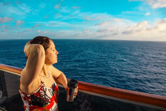 Woman on a cruise ship Stock Photo