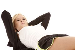 Woman crunch body view Royalty Free Stock Photo