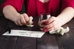 Woman crush paper note. And drink alcohol royalty free stock photos