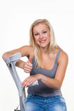 Woman with crutches. A young woman with crutches. symbolic photo for accidents, domestic accidents and insurance Stock Photography