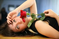 Woman crying. Woman breakup red rose, crying Royalty Free Stock Images