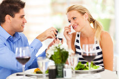 Woman crying when boyfriend proposed Stock Images