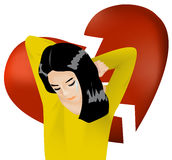 Woman is crying with broken heart background Stock Photos