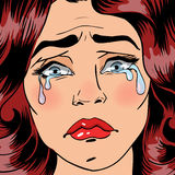 Woman Crying. Exhausted Woman. Woman in depression. Pop Art Stock Photos