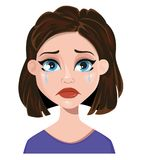 Woman crying. Female emotion, face expression. Cute cartoon char. Acter. Vector illustration isolated on white background Stock Photography