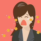 Woman crying out in money tears Royalty Free Stock Image