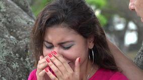 Woman Crying Outdoors stock video
