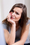 Woman crying at psychotherapist's room Royalty Free Stock Images