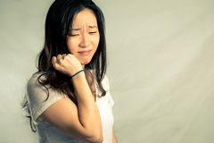 Woman crying and pulling hair Stock Images