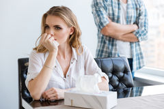 Woman crying after quarrel with her husband Royalty Free Stock Photo