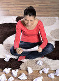 Woman Crying, Reading Letter. Unhappy young woman crying, reading Letter Royalty Free Stock Images