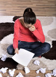 Woman Crying, Reading Letter Stock Photo