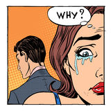 Woman crying said why the outgoing man. Woman crying said why the departing man. Emotions girl love divorce vector illustration