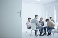 Woman crying in rehab center Stock Photography