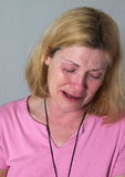 Woman Crying Tears stock photo