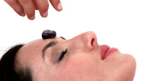 Woman at crystal healing session