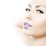 Woman with crystal lips Royalty Free Stock Photography