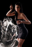Woman and a crystal statue. Naked woman and a crystal statue Stock Images